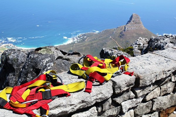 Abseiling off Table Mountain
